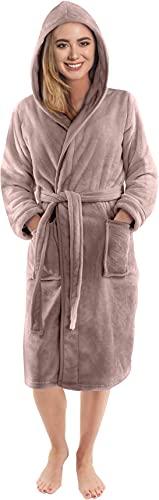 NY Threads Robe de Chambre Polaire à Capuche pour Femme - Peignoir en Peluche et Douillet pour Dames (Medium, Taupe) prix et achat