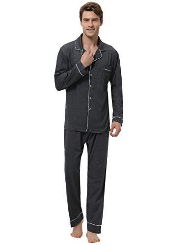 Aibrou Pyjama Hommes Coton Manche Longue Couleur Pure, Pyjama Hiver, Chemise de Nuit, Sleepwear...