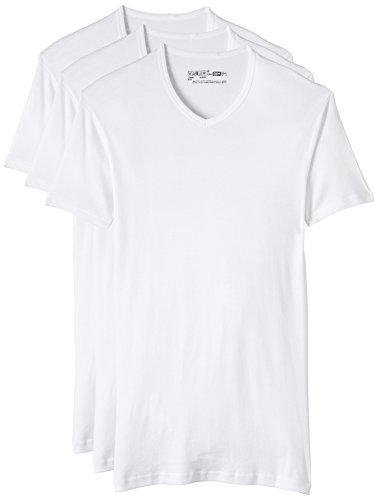 Dim EcoDim, T-Shirt Maillot de Corps 100% Coton Col en V Homme, Blanc, L (Lot de 3)