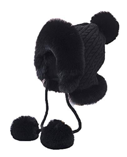 BigForest Bonnet péruvien en fausse fourrure pour femme - Noir - Taille Unique