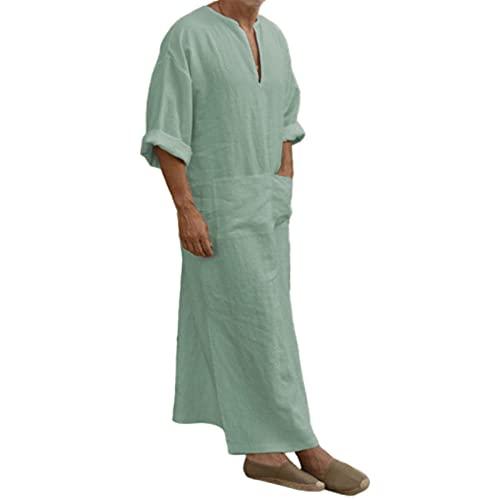 Avv Col en V à Manches Courtes pour Hommes Robe de Maison en Lin à Manches Courtes Robe Longue Chemise décontractée pour la Plage, côté Fendu en Coton Longue Robe d'étéBeige5XL