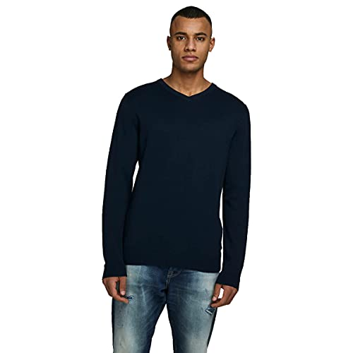 Jack & Jones Jjebasic Knit V-Neck Noos Pull, Bleu (Navy Blazer), Large Homme