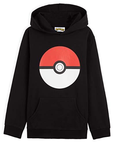 Pokémon Sweat Enfant Poke Ball, Pull Enfant ou Ado Garçon ou Fille 4 à 15 Ans, Sweats À Capuche Coton, Idée Cadeau pour Gamer (Noir, 11-12 Ans)