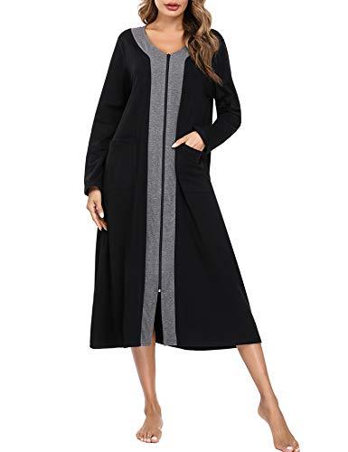 Aibrou Robe de Chambre Femme Longue Peignoir Coton Femme Col V Manches Longues Chemise de Nuit...