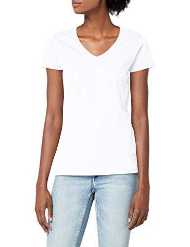 Fruit of the Loom - Valueweight - T-Shirt - Femme - Blanc (White) - 14 (Taille fabricant:Large)