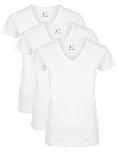 Berydale T-shirt à encolure en V(Lot de 3)-Femme - Blanc - Medium