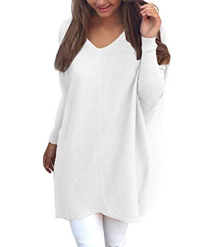 YOINS Femmes Pulls Couleur Unie Manches Longues Col V Sweater Tricoté Tops Long Pullover Large...