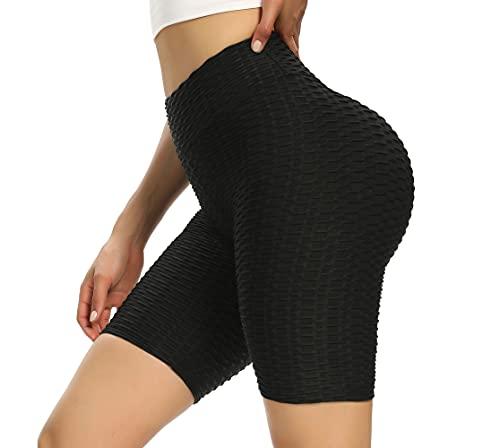 BOTRE Short de Sport Femme Anti-Cellulite Legging Fitness Yoga Jogging Pantalon Push UP Legging Court Slim Fit Shorts de Fitness Exercices Pilates Gym Running Pants(Noir,M)