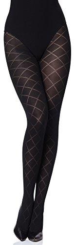 Merry Style Collant Fantaisie Opaque à Motif Lingerie Sexy Sous-vêtements Femme MS 328 60 DEN (Noir, XL)