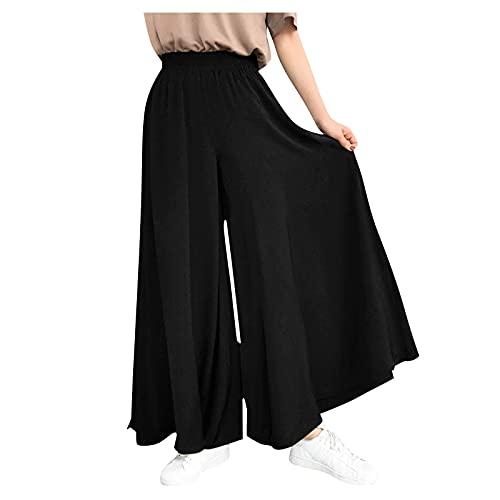 Dasongff Pantalon Large Fluide Femme Grande Taille Baggy, Palazzo Pantalons Taille élastique Couleur Unie Ample Casual Été Taille Haute Pantalon Droit Trousers de Plage Décontractée prix et achat
