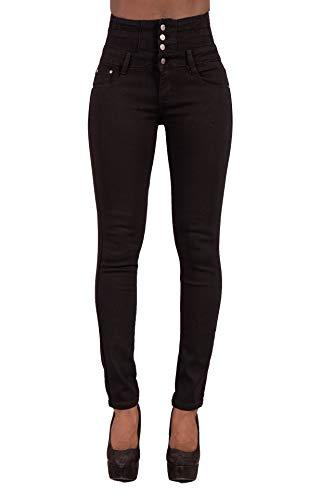 Glook Pantalon Femme Denim Jeans Slim Taille Haute Jean Stretch Pant (42, Noir),XL