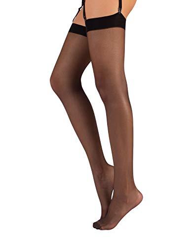 CALZITALY Bas pour Porte-Jarretelles femme, Bas fin | S, M, L, XL, 2XL, 3XL, 4XL | Noir, Naturel | 15 DEN | Made in Italy (M/L, NOIR) prix et achat