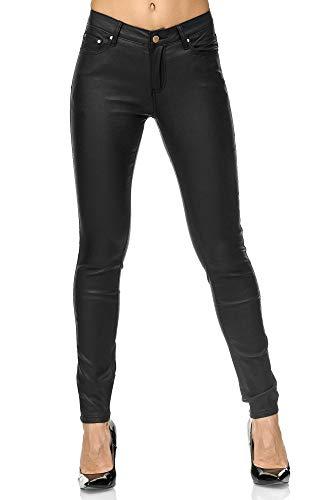 Elara Pantalon Femme en Simili-Cuir Effet Push Up Chunkyrayan E621 Black-38 (M) prix et achat