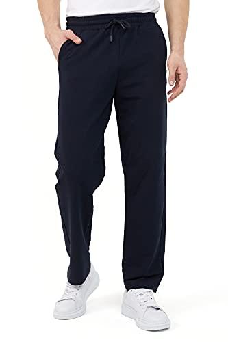COMEOR Pantalon de jogging pour homme en coton - Pantalon de sport long pour homme - Pantalon de jogging pour homme, bleu foncé, XL