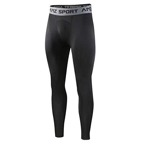 AMZSPORT Jambières à Compression Thermique pour Hommes Collants en Polaire Couche de Base Pantalon de Course d'hiver, Noir Noir, M
