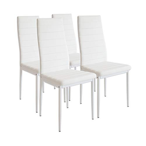 Albatros 2552 MILANO Lot de 4 chaises, blanc