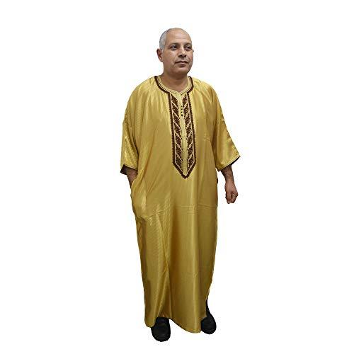 Chilaba, Tunique djellaba Caftan modèle Arabe et marocain. C'est du Satin et du Coton. Il Mesure 70 cm de Large et 150 cm de Long Environ.