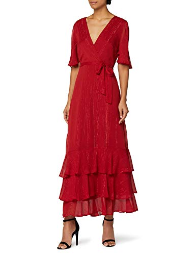 Marque Amazon - Truth & Fable Robe Ourlet Froncé Femme, Rouge (RED RED), 46, Label:XXL
