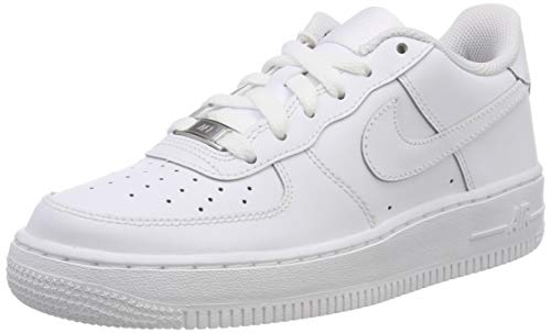 Nike Air Force 1 GS, Baskets, White/White/White, 38.5 EU