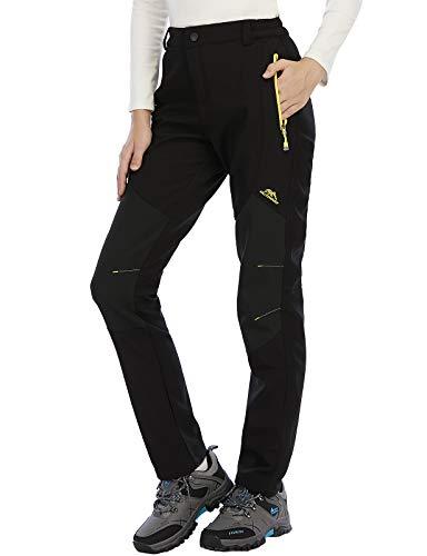 DAFENP Pantalon Randonnée Femme Outdoor Hiver Pantalon Trekking Camping Imperméable Doublé Polaire Pantalon Montagne KZ16608W-Black1-XS