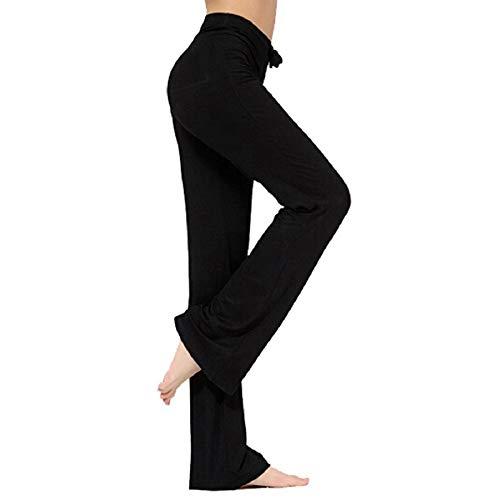 Hippolo Pantalon décontracté Droit pour Femme avec Cordon de Serrage pour Le Yoga et la Course à Pied (Noir, X-Large, x_l)