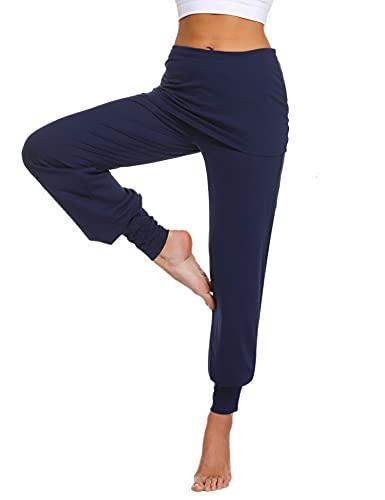 Sykooria Pantalon Sarouel Femmes Pantalon de Yoga Femme Taille Haute Legging Sport Danser Pantalon avec Jupe Court - Bleu Foncé-L