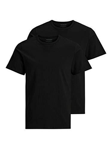 Jack & Jones Jacbasic Crew Neck Tee SS 2 Pack T-Shirt, Noir (Black Black), X-Large (Lot de 2) Homme