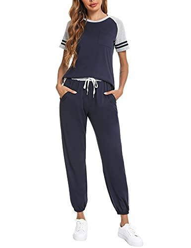 Sykooria Mode Survêtement Femme 2 Pièce Tissu Doux Ensemble Sport pour Jogging Pyjama Coton Convient pour les Gymnases et Quotidiens pour la Maison