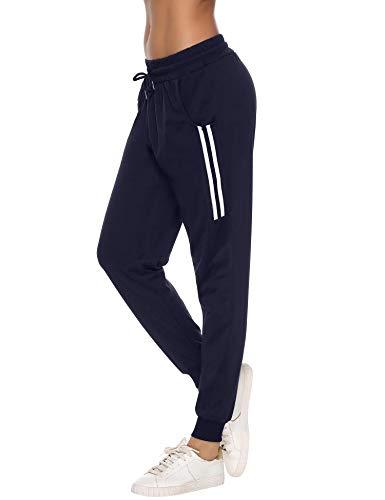 Sykooria Pantalon de Sport Femme en Coton Stripe Pantalon Décontracté Pantalon de Jogging Pantalon d'entraînement Pilate Hippie Yoga Fitness(C-Bleu,L)