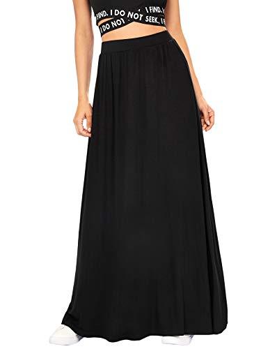 DIDK Femme Maxi Jupe Longue Chic Taille Haute Elastique Yoga Unicolore Vintage Casual De Large...