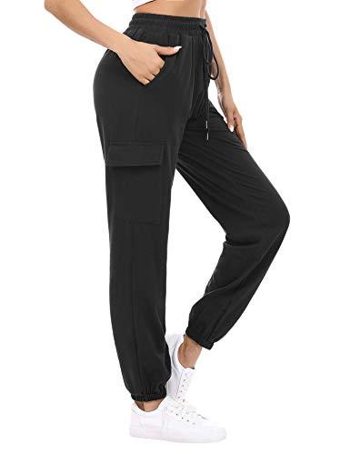 Doaraha Pantalon Jogging Femme en Coton Large avec 4 Poches Léger Confortable et Agréable à Porter Idéal pour Sport Yoga et Fitness en Hiver Grande Taille S-XXL,XXL,Noir,XXL