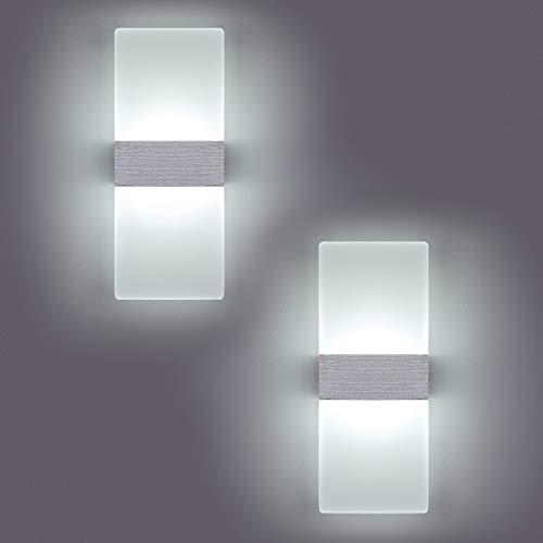 Yafido 2 * 12W Applique LED Murale Interieur 6000K Lampe Murale Blanc Froid Verre Design Simple Gris Brosse AC 220V pour Chambre Salon Salle de Bain 29CM