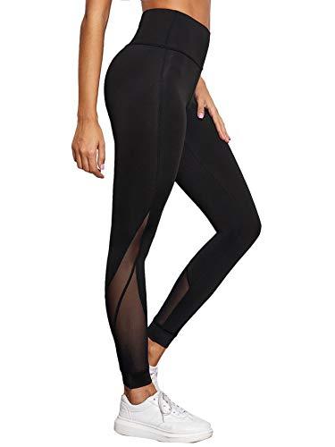 SOLY HUX Leggings De Sport Femme Pantalon De Yoga Jogging Fitness Gym Legging Long avec Tulle...