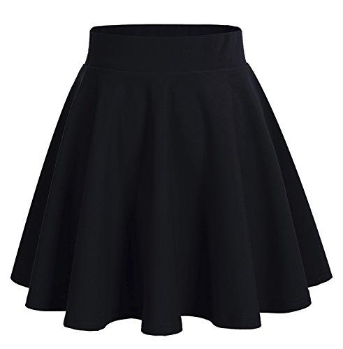 DRESSTELLS Jupe Mini Courte évasée en Polyester, Noir L
