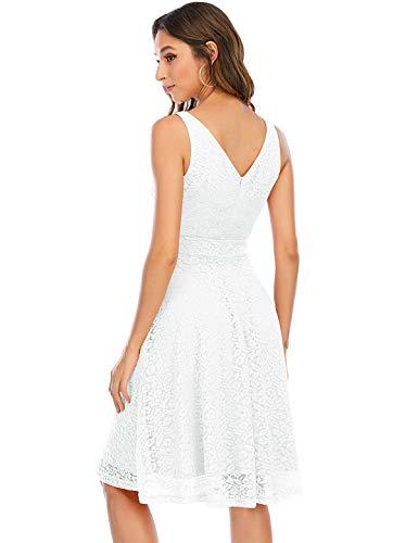Bbonlinedress Femme Robe de Cocktail Courte Dentelle Swing pour Bal Mariage Promo White S