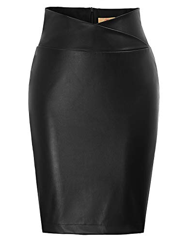 GRACE KARIN Jupe Femme Sexy et Vintage Jupe en Cuir PU Taille Haute Jupe Crayon Jupe de Partie Noir XL CL05-1