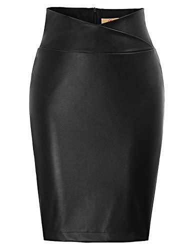 GRACE KARIN Jupe Femme Moulante et Vintage Jupe en Simili Cuir PU Taille Haute Jupe Crayon Jupe...