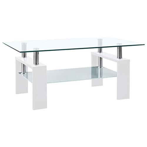 Festnight Table Basse en Verre Table de Salon Table d'appoint Blanc 95x55x40 cm