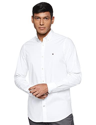 Tommy Hilfiger Core Stretch Slim Poplin Shirt, Chemise Homme, Blanc (Bright White 100), Small