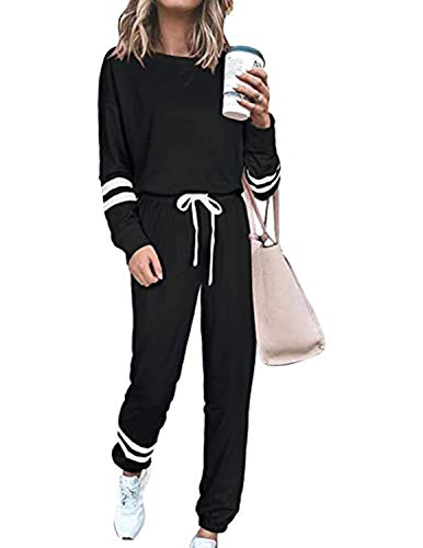 BUOYDM Survêtement Femme Ensemble de Sport Deux Pièce Sweatshirt + Pantalon Casual Pyjama Jogging Pullover Outwear Tenue Yoga Sportswear Noir M