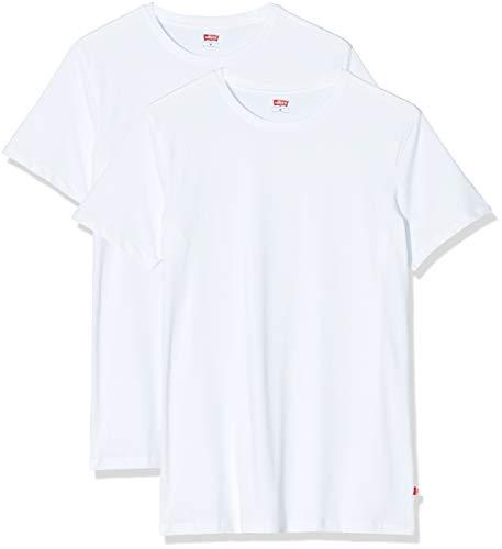 Levi's Men Solid Crew 2P T- T-shirt, Blanc (White 300), Small (Lot de 2) Homme