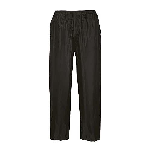 Portwest Pantalon de Pluie Unisex Classic, Couleur: Noir, Taille: M, S441BKRM