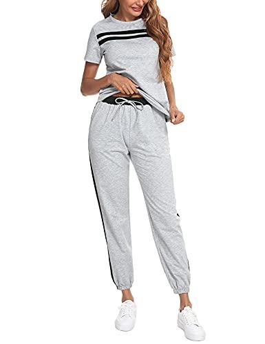 Sykooria Survêtement Femme Ensembles Sportswear T-shirt et Pantalons de Sport Deux Pièce en Coton avec Poches ,Jogging Pyjama D'Intérieur Tenue Manches Court Pantalon-Gris,L