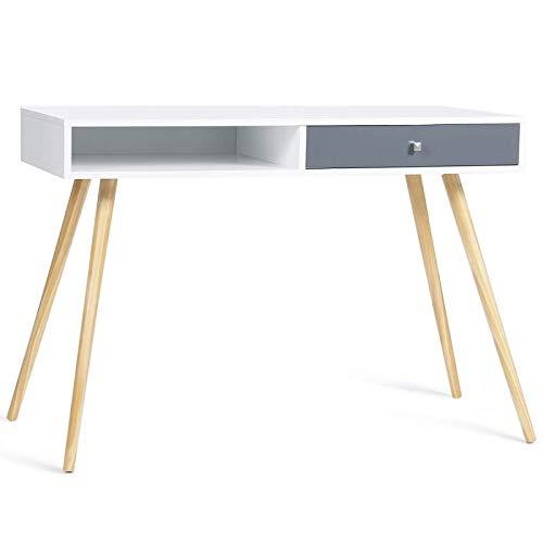 IDMarket - Bureau scandinave EFFIE bois blanc tiroir gris