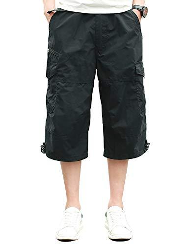 Homme Shorts Cargo Pantacourt Coton Multi Poches Loisirs 3/4 Short Casual Eté Noir 01 XXL