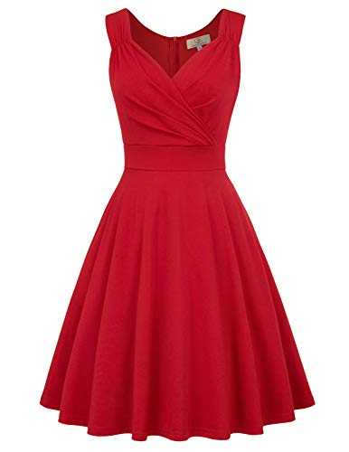 Vintage Audrey Hepburn pin-up Robe de soirée Cocktail pour Femme Rouge L CL698-5
