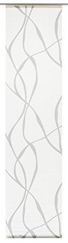 GARDINIA Panneau Japonais (1 Pièce), Opaque, Tissu Lavable, Motifs Vagues, Blanc/Gris, 60 x 245 cm (LxH)