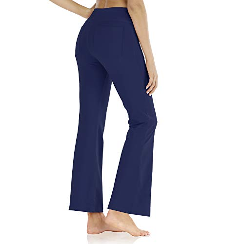 Butrends Pantalon de Yoga Extensible Bootcut avec Poches Femmes Long Casual Pantalon Pantalon...