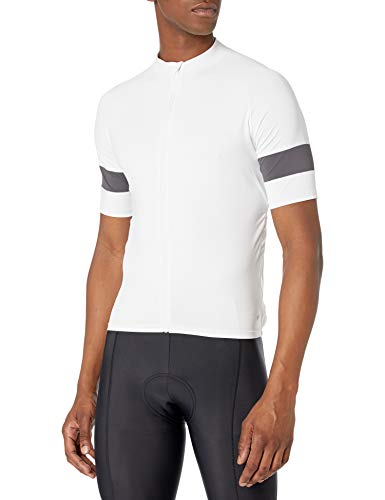 Amazon Essentials Maillot de Cyclisme à Manches Courtes Chemise, Blanc, S