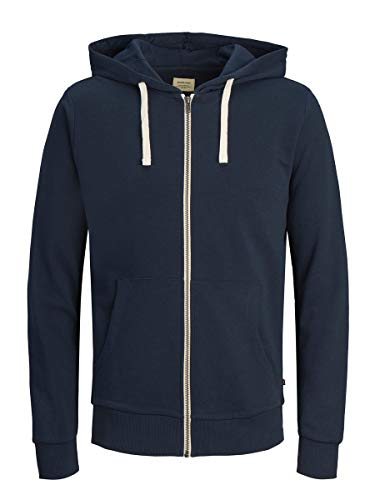 JACK & JONES Jjeholmen Sweat Zip Hood Noos Veste, Bleu (Navy Blazer Fit:Reg Fit), Large Homme